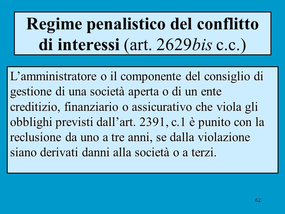 62 Regime penalistico del conflitto di interessi (art. 2629bis c.c.) Lamministratore o il componente del consiglio di gestione di una società aperta o