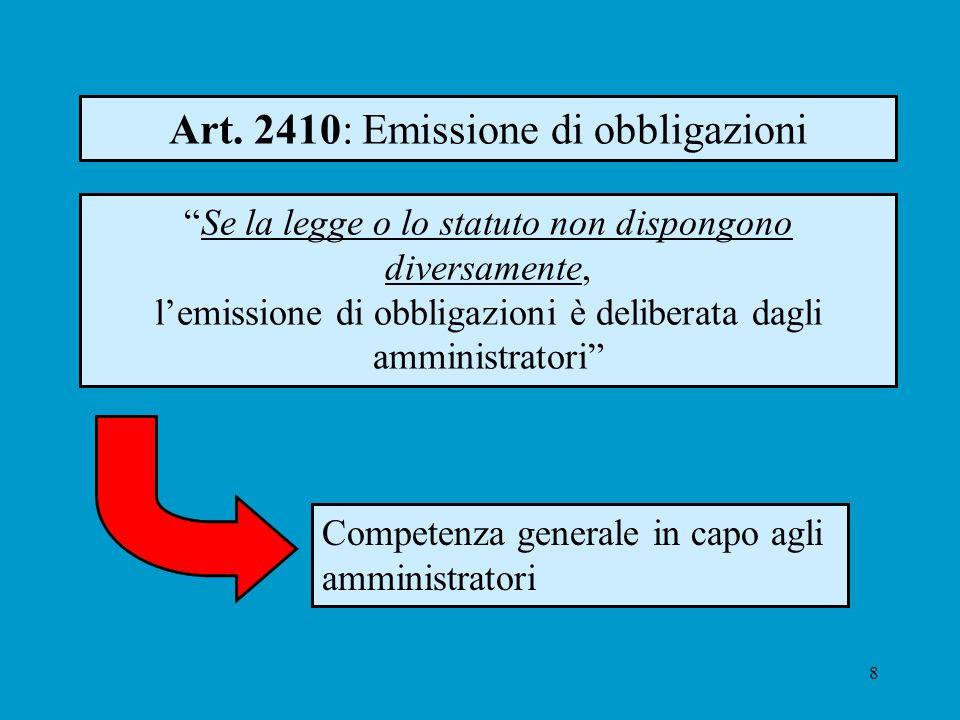 8 Art. 2410: Emissione di obbligazioni Competenza generale in capo agli amministratori Se la legge o lo statuto non dispongono diversamente, lemission