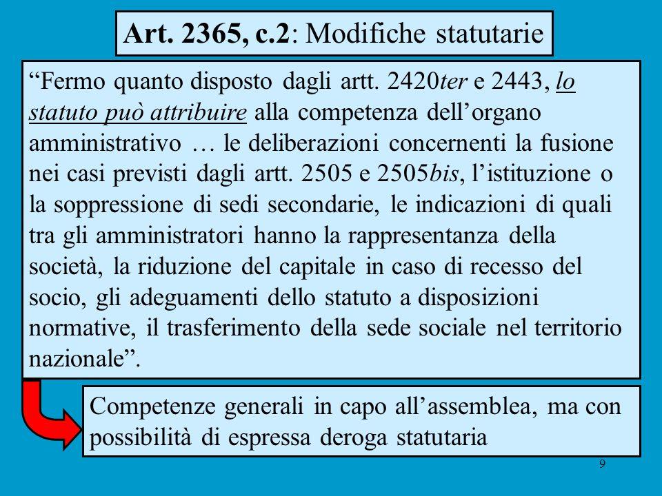 9 Art. 2365, c.2: Modifiche statutarie Fermo quanto disposto dagli artt. 2420ter e 2443, lo statuto può attribuire alla competenza dellorgano amminist