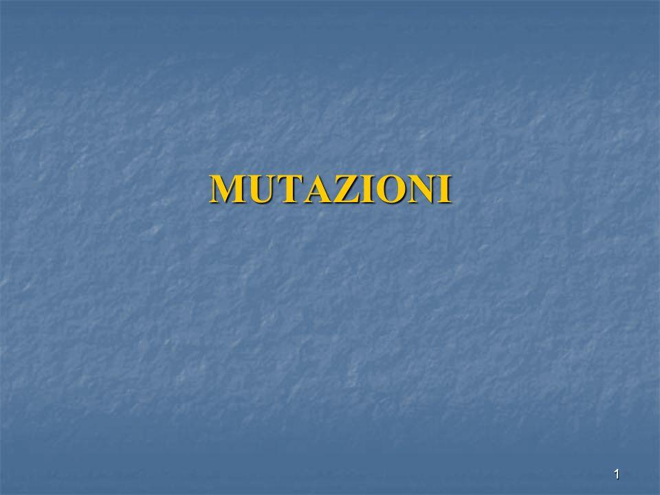 32 Mutazione Può essere minima, riguardare cioè una singola coppia di basi nel DNA MUTAZIONE PUNTIFORME MUTAZIONE PUNTIFORME