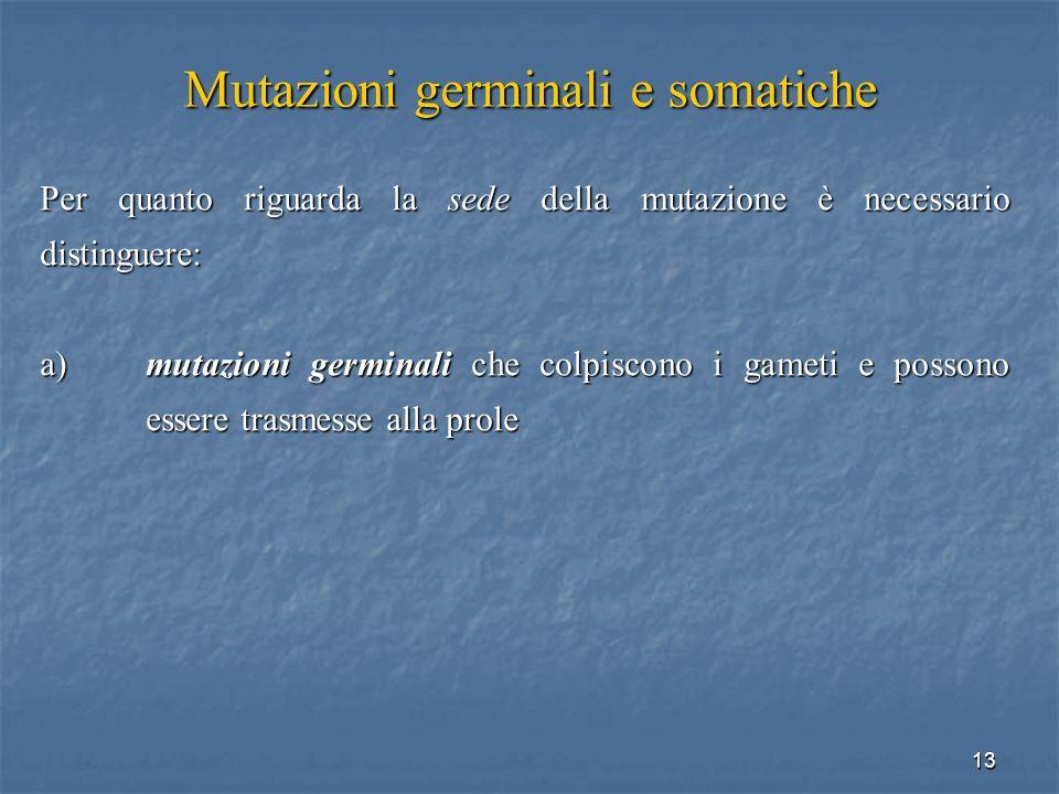 13 Mutazioni germinali e somatiche Per quanto riguarda la sede della mutazione è necessario distinguere: a)mutazioni germinali che colpiscono i gameti