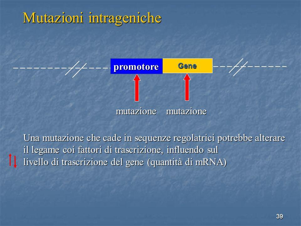 39 Mutazioni intrageniche mutazionemutazione Una mutazione che cade in sequenze regolatrici potrebbe alterare il legame coi fattori di trascrizione, i