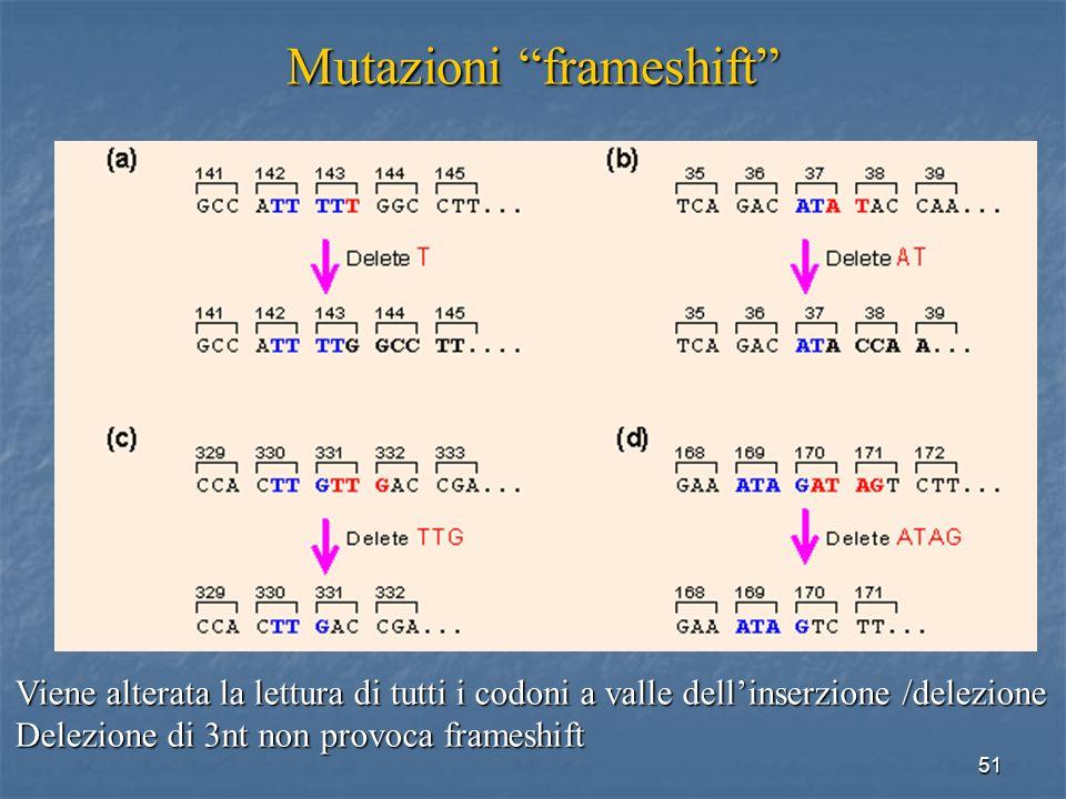 51 Mutazioni frameshift Viene alterata la lettura di tutti i codoni a valle dellinserzione /delezione Delezione di 3nt non provoca frameshift