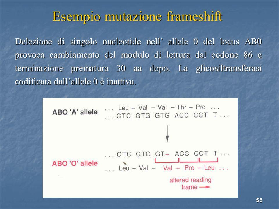 53 Esempio mutazione frameshift Delezione di singolo nucleotide nell allele 0 del locus AB0 provoca cambiamento del modulo di lettura dal codone 86 e