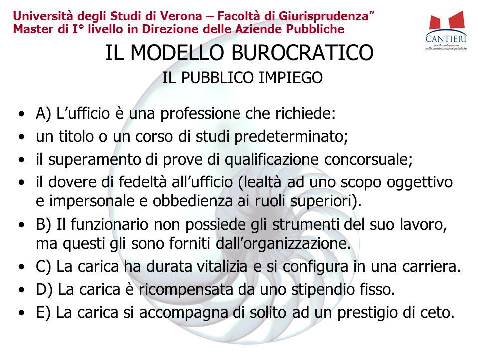 Università degli Studi di Verona – Facoltà di Giurisprudenza Master di I° livello in Direzione delle Aziende Pubbliche IL MODELLO BUROCRATICO IL PUBBL