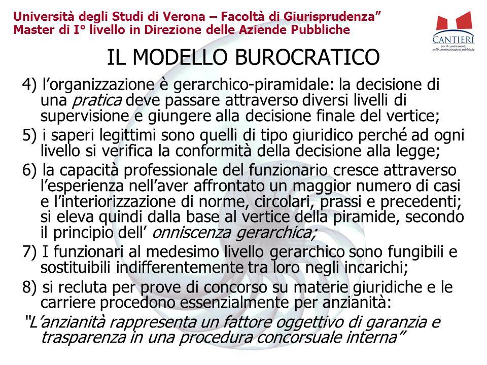 Università degli Studi di Verona – Facoltà di Giurisprudenza Master di I° livello in Direzione delle Aziende Pubbliche IL MODELLO BUROCRATICO 4) lorga