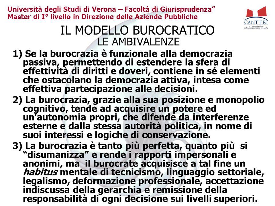 Università degli Studi di Verona – Facoltà di Giurisprudenza Master di I° livello in Direzione delle Aziende Pubbliche IL MODELLO BUROCRATICO LE AMBIV