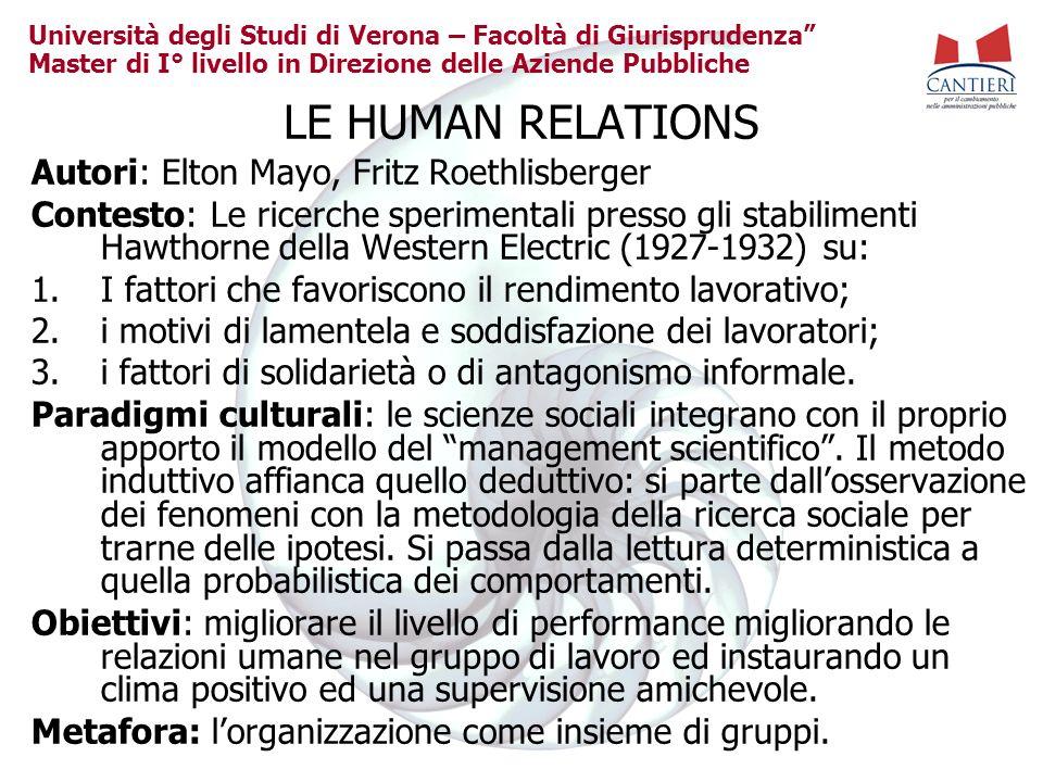 Università degli Studi di Verona – Facoltà di Giurisprudenza Master di I° livello in Direzione delle Aziende Pubbliche LE HUMAN RELATIONS Autori: Elto