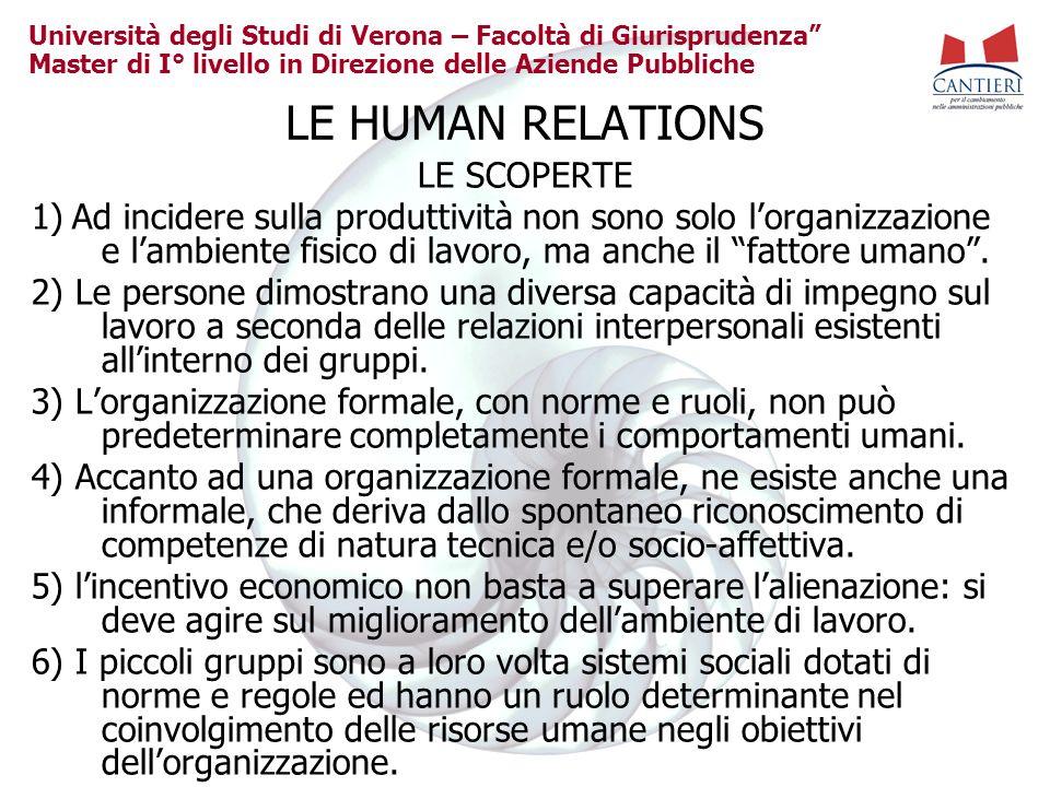 Università degli Studi di Verona – Facoltà di Giurisprudenza Master di I° livello in Direzione delle Aziende Pubbliche LE HUMAN RELATIONS LE SCOPERTE