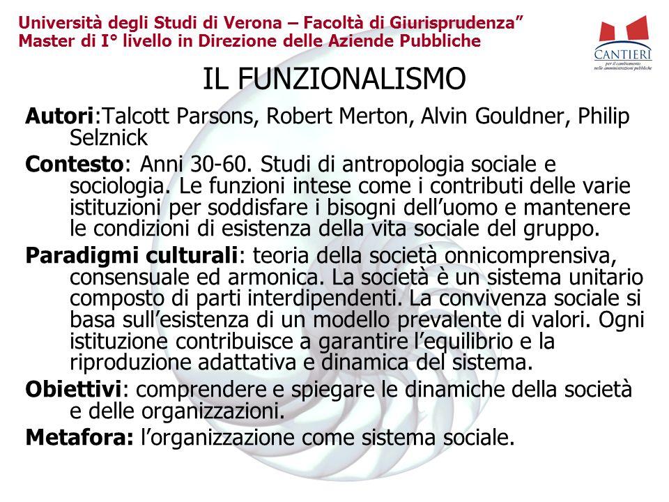 Università degli Studi di Verona – Facoltà di Giurisprudenza Master di I° livello in Direzione delle Aziende Pubbliche IL FUNZIONALISMO Autori:Talcott