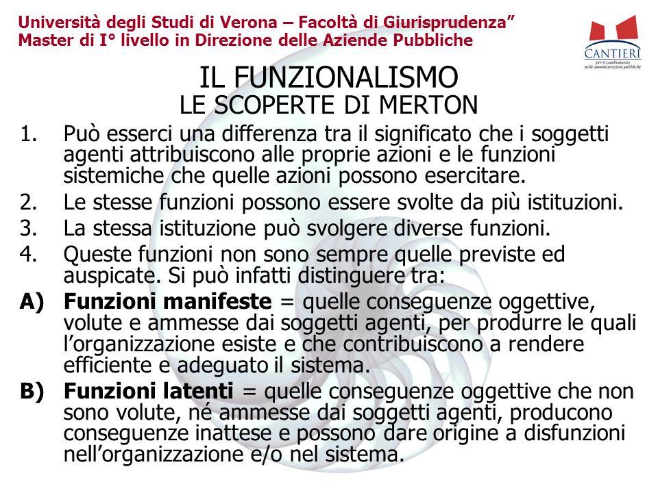 Università degli Studi di Verona – Facoltà di Giurisprudenza Master di I° livello in Direzione delle Aziende Pubbliche IL FUNZIONALISMO LE SCOPERTE DI
