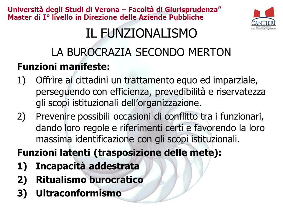 Università degli Studi di Verona – Facoltà di Giurisprudenza Master di I° livello in Direzione delle Aziende Pubbliche IL FUNZIONALISMO LA BUROCRAZIA