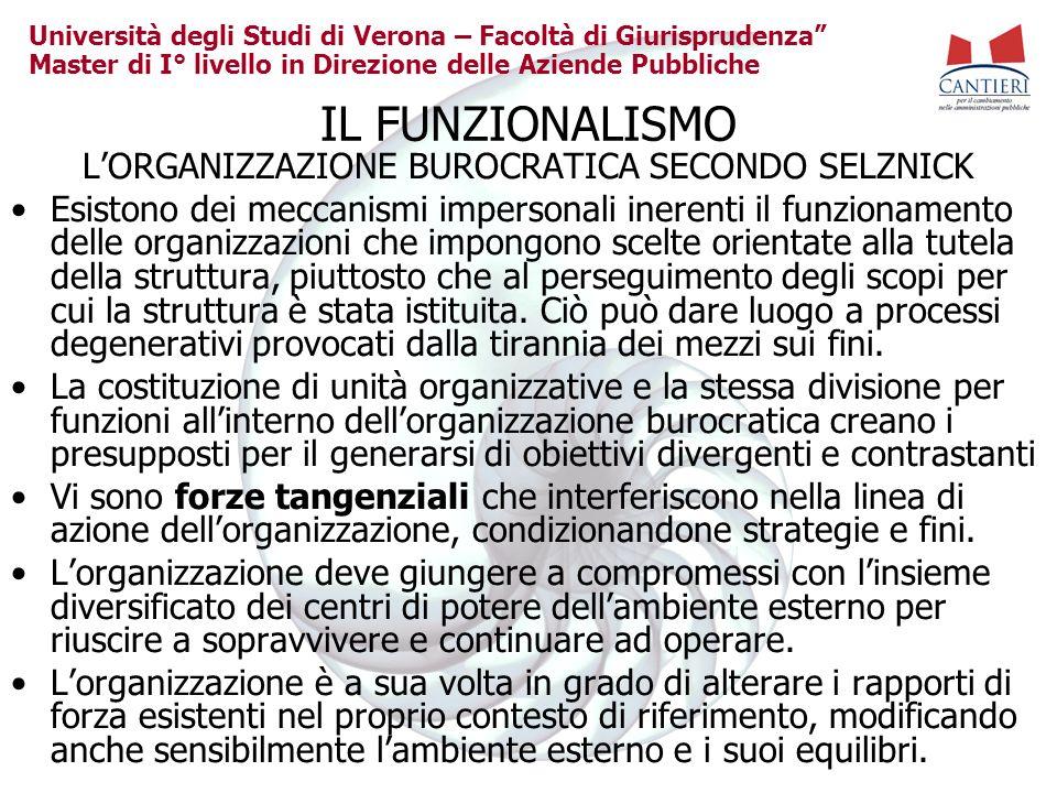 Università degli Studi di Verona – Facoltà di Giurisprudenza Master di I° livello in Direzione delle Aziende Pubbliche IL FUNZIONALISMO LORGANIZZAZION