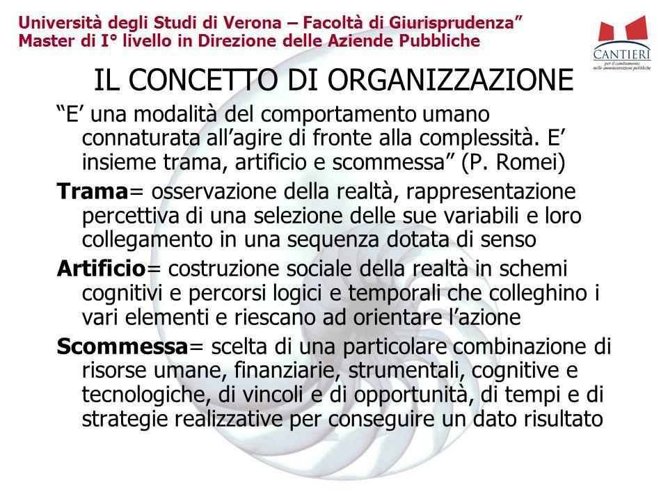 Università degli Studi di Verona – Facoltà di Giurisprudenza Master di I° livello in Direzione delle Aziende Pubbliche IL CONCETTO DI ORGANIZZAZIONE E