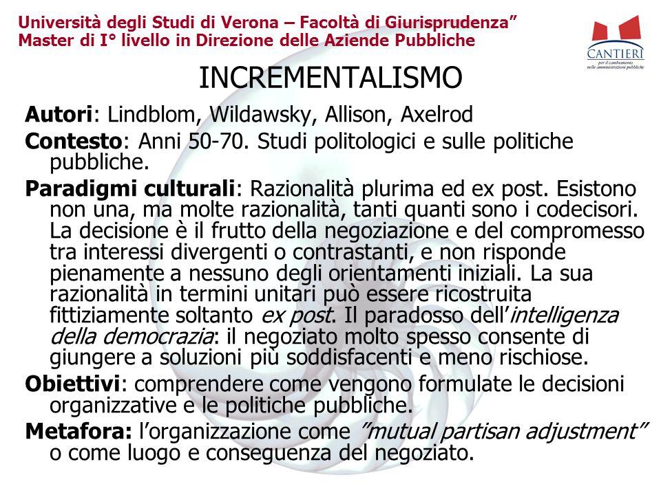 Università degli Studi di Verona – Facoltà di Giurisprudenza Master di I° livello in Direzione delle Aziende Pubbliche INCREMENTALISMO Autori: Lindblo