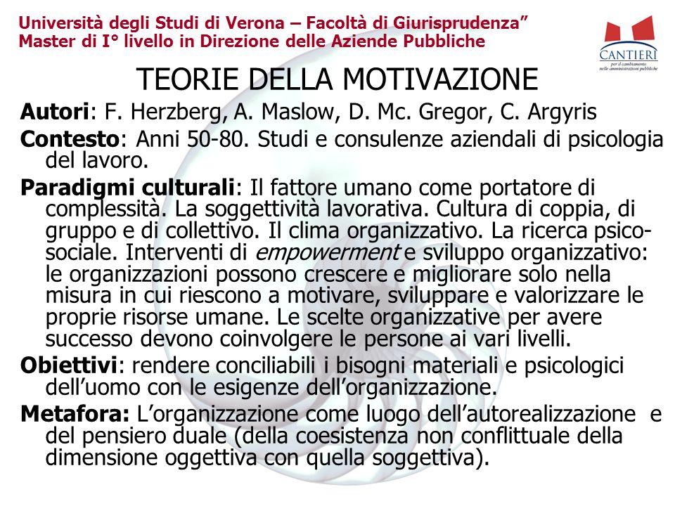 Università degli Studi di Verona – Facoltà di Giurisprudenza Master di I° livello in Direzione delle Aziende Pubbliche TEORIE DELLA MOTIVAZIONE Autori