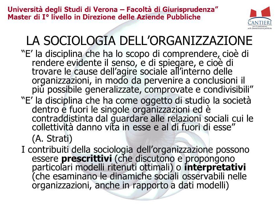 Università degli Studi di Verona – Facoltà di Giurisprudenza Master di I° livello in Direzione delle Aziende Pubbliche LA SOCIOLOGIA DELLORGANIZZAZION