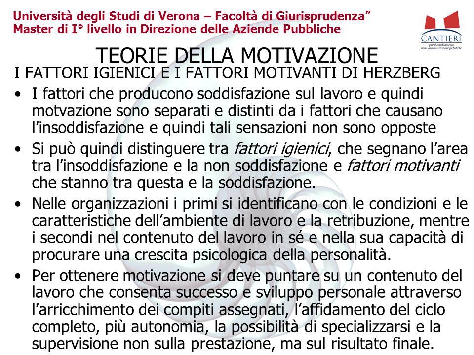 Università degli Studi di Verona – Facoltà di Giurisprudenza Master di I° livello in Direzione delle Aziende Pubbliche TEORIE DELLA MOTIVAZIONE I FATT