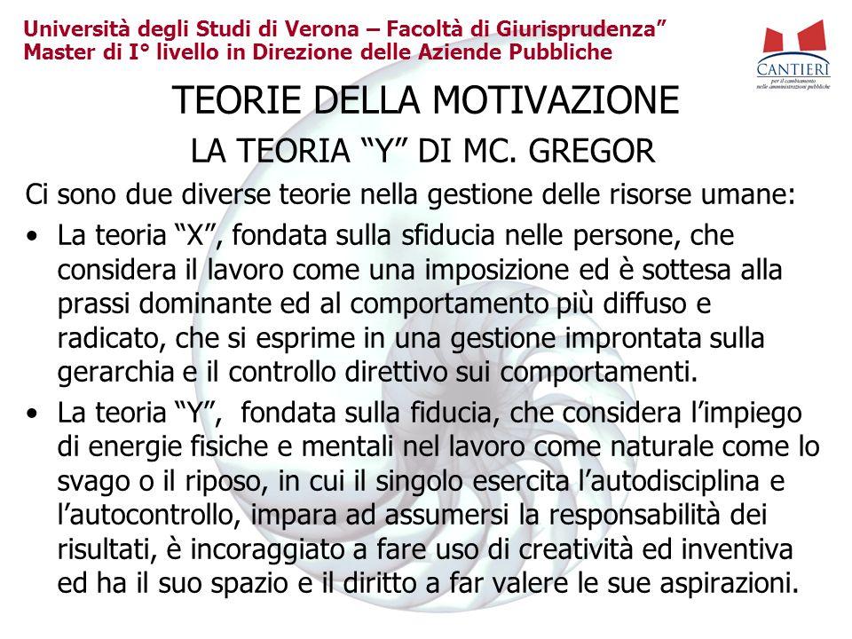 Università degli Studi di Verona – Facoltà di Giurisprudenza Master di I° livello in Direzione delle Aziende Pubbliche TEORIE DELLA MOTIVAZIONE LA TEO