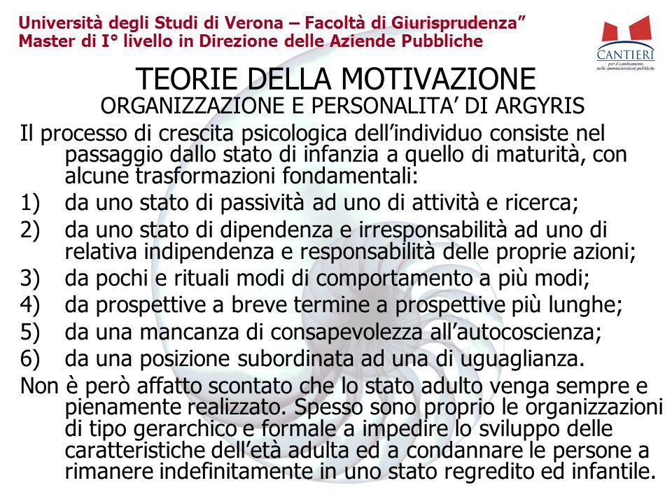 Università degli Studi di Verona – Facoltà di Giurisprudenza Master di I° livello in Direzione delle Aziende Pubbliche TEORIE DELLA MOTIVAZIONE ORGANI