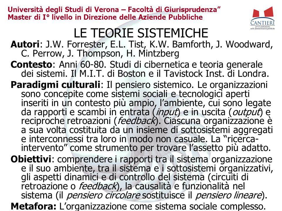 Università degli Studi di Verona – Facoltà di Giurisprudenza Master di I° livello in Direzione delle Aziende Pubbliche LE TEORIE SISTEMICHE Autori: J.