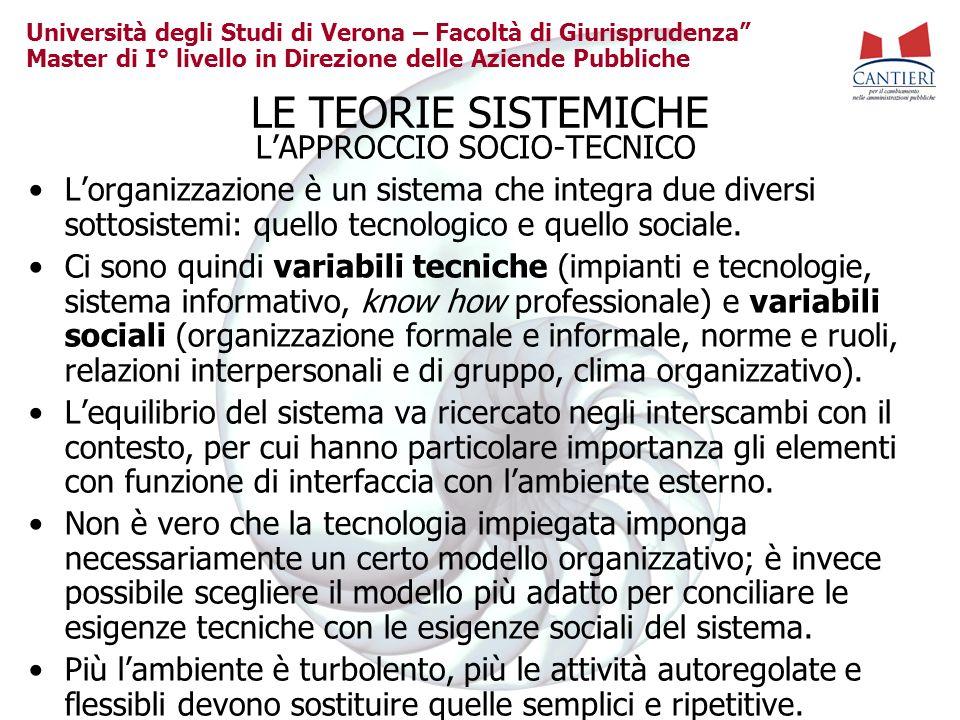 Università degli Studi di Verona – Facoltà di Giurisprudenza Master di I° livello in Direzione delle Aziende Pubbliche LE TEORIE SISTEMICHE LAPPROCCIO