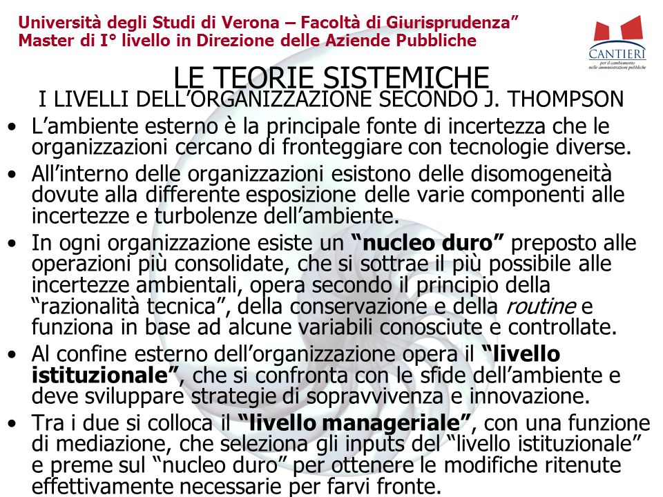Università degli Studi di Verona – Facoltà di Giurisprudenza Master di I° livello in Direzione delle Aziende Pubbliche LE TEORIE SISTEMICHE I LIVELLI