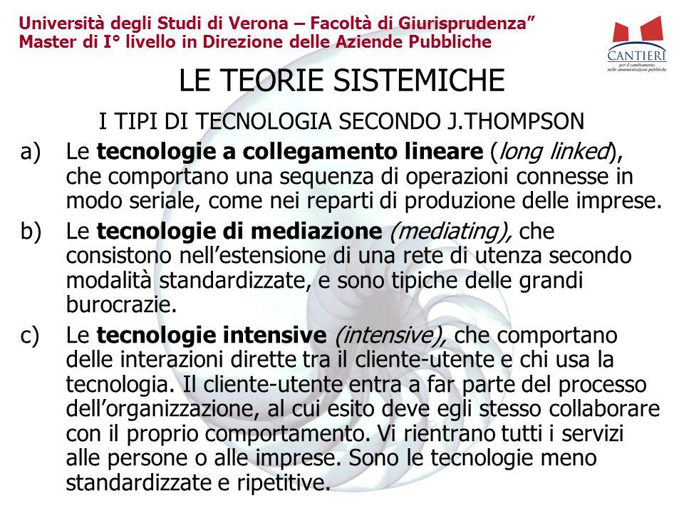 Università degli Studi di Verona – Facoltà di Giurisprudenza Master di I° livello in Direzione delle Aziende Pubbliche LE TEORIE SISTEMICHE I TIPI DI