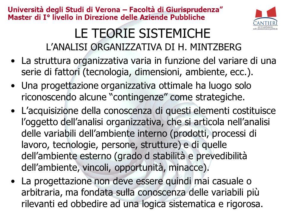 Università degli Studi di Verona – Facoltà di Giurisprudenza Master di I° livello in Direzione delle Aziende Pubbliche LE TEORIE SISTEMICHE LANALISI O