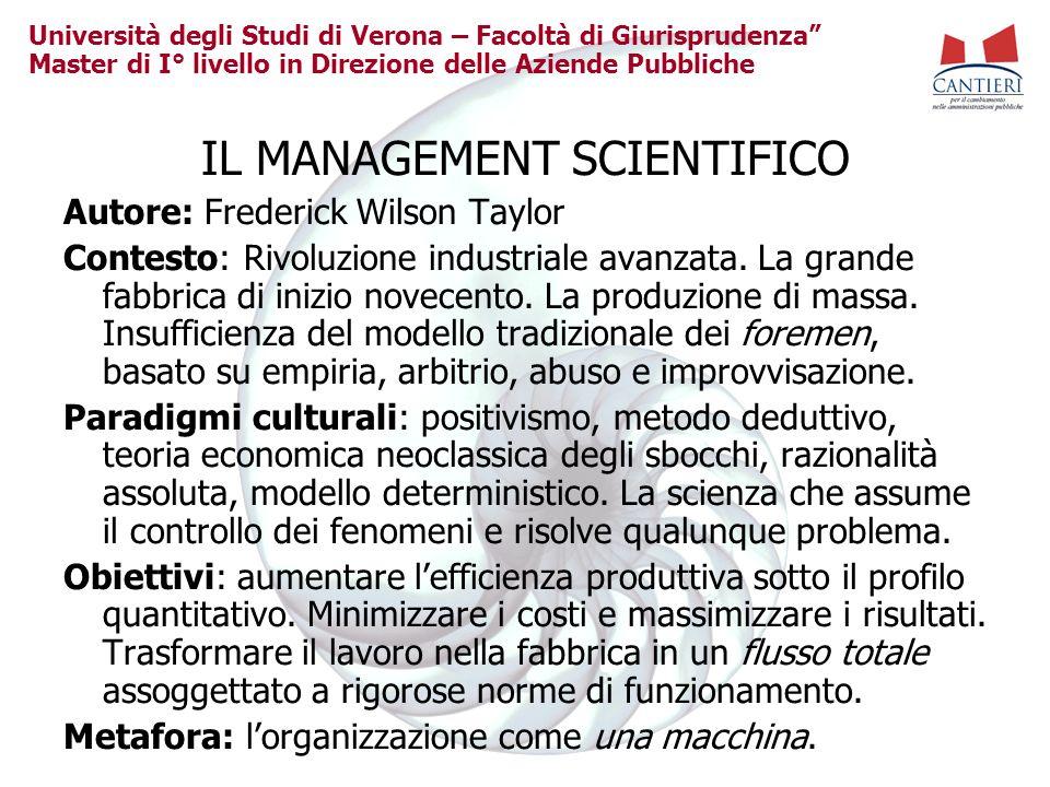 Università degli Studi di Verona – Facoltà di Giurisprudenza Master di I° livello in Direzione delle Aziende Pubbliche IL MANAGEMENT SCIENTIFICO Autor