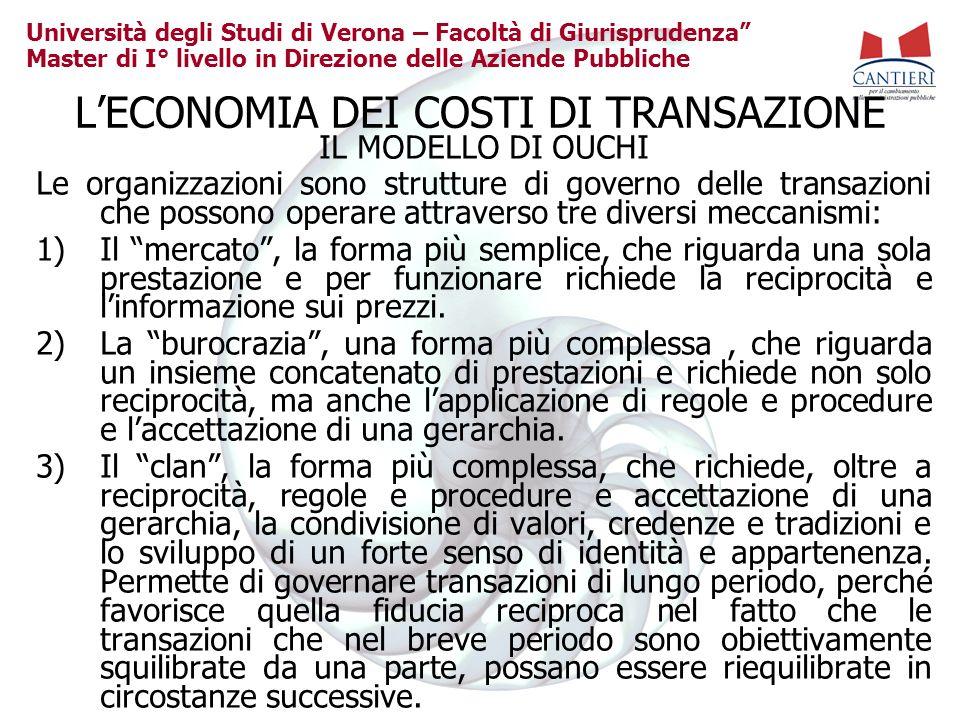 Università degli Studi di Verona – Facoltà di Giurisprudenza Master di I° livello in Direzione delle Aziende Pubbliche LECONOMIA DEI COSTI DI TRANSAZI
