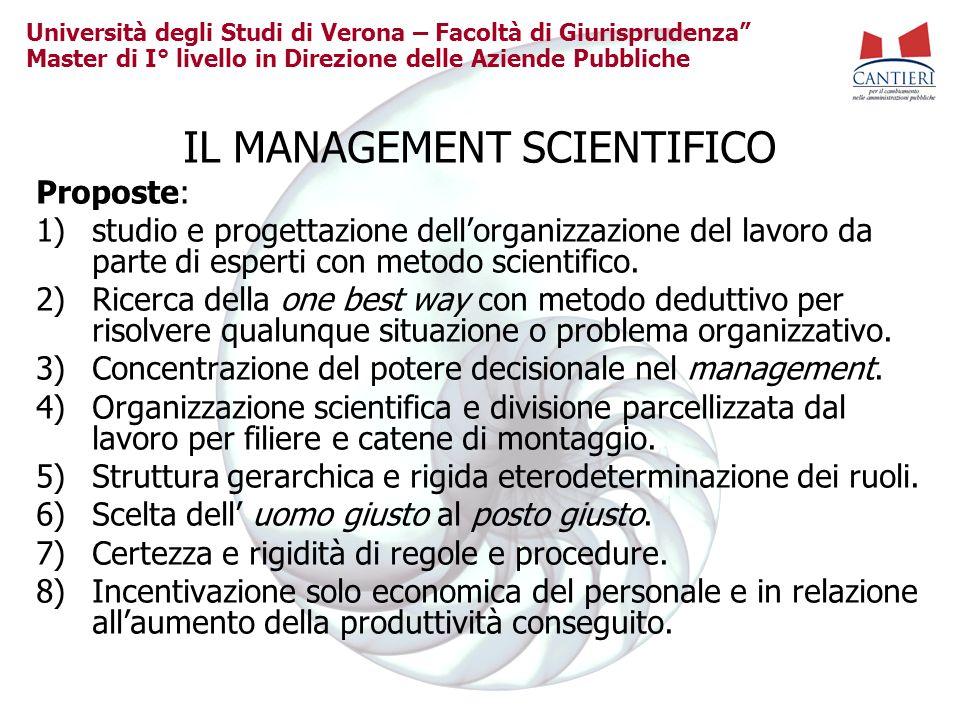 Università degli Studi di Verona – Facoltà di Giurisprudenza Master di I° livello in Direzione delle Aziende Pubbliche IL MANAGEMENT SCIENTIFICO Propo