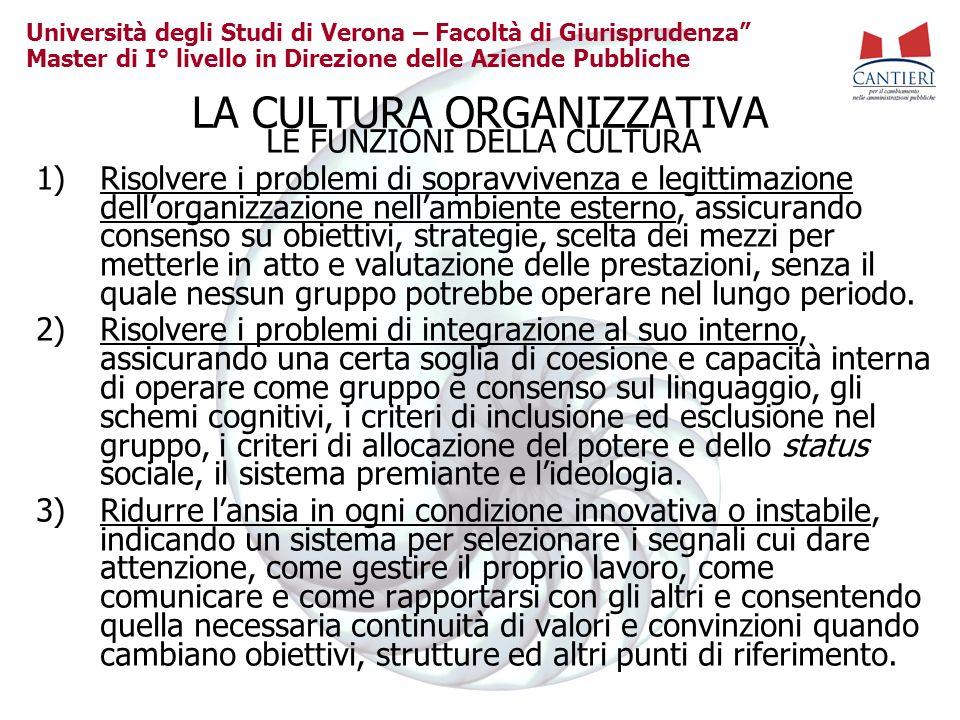Università degli Studi di Verona – Facoltà di Giurisprudenza Master di I° livello in Direzione delle Aziende Pubbliche LA CULTURA ORGANIZZATIVA LE FUN