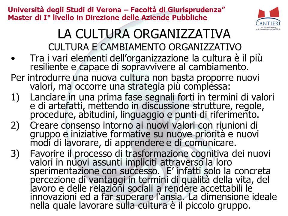 Università degli Studi di Verona – Facoltà di Giurisprudenza Master di I° livello in Direzione delle Aziende Pubbliche LA CULTURA ORGANIZZATIVA CULTUR