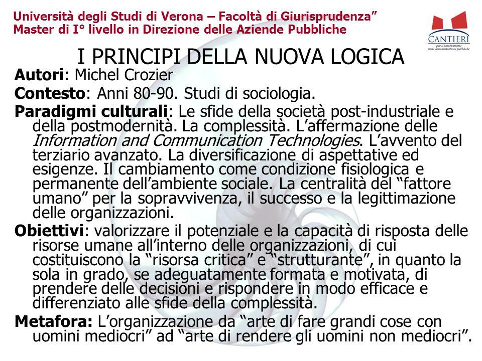 Università degli Studi di Verona – Facoltà di Giurisprudenza Master di I° livello in Direzione delle Aziende Pubbliche I PRINCIPI DELLA NUOVA LOGICA A