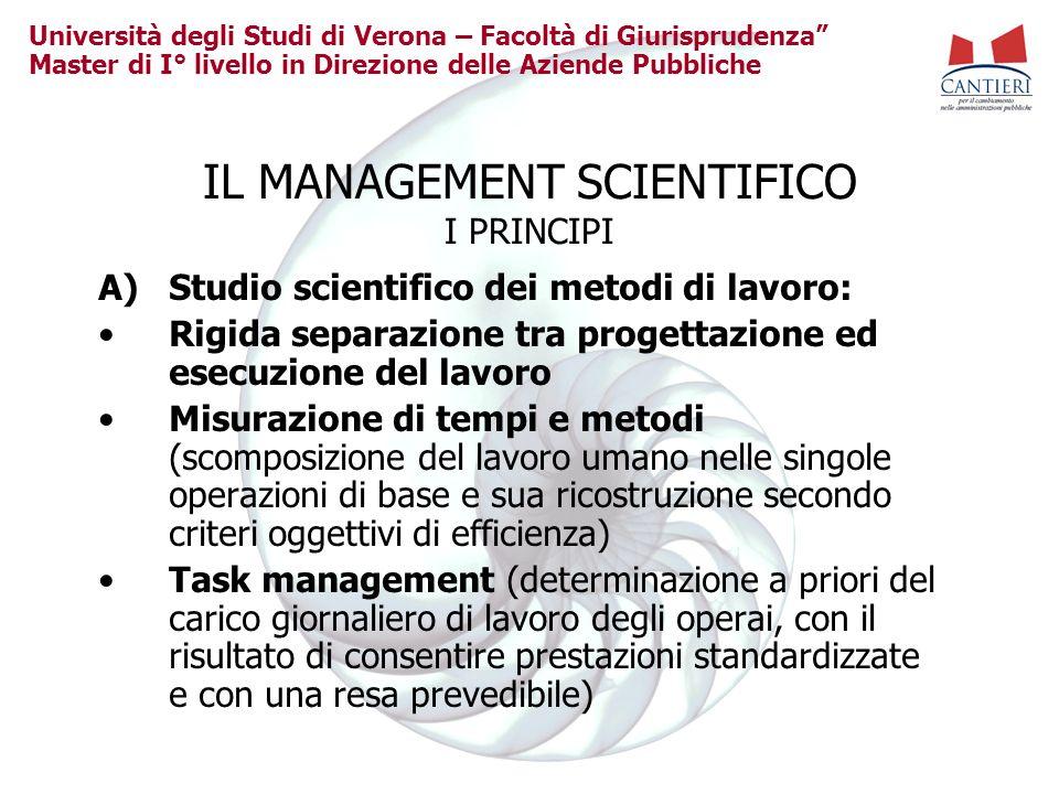 Università degli Studi di Verona – Facoltà di Giurisprudenza Master di I° livello in Direzione delle Aziende Pubbliche IL MANAGEMENT SCIENTIFICO I PRI