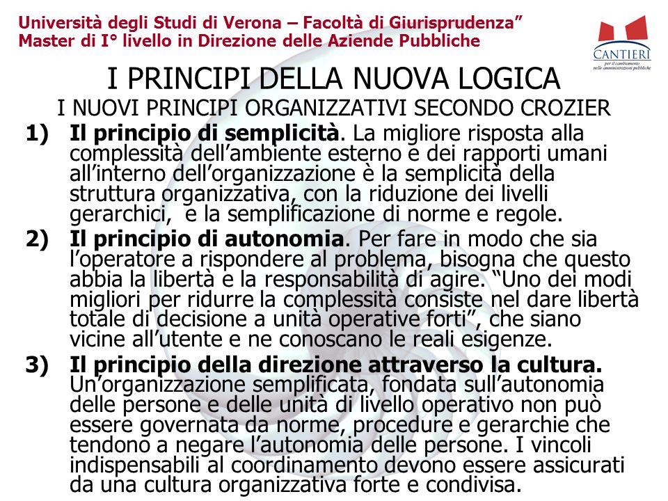 Università degli Studi di Verona – Facoltà di Giurisprudenza Master di I° livello in Direzione delle Aziende Pubbliche I PRINCIPI DELLA NUOVA LOGICA I