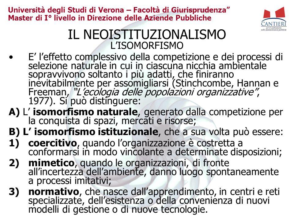 Università degli Studi di Verona – Facoltà di Giurisprudenza Master di I° livello in Direzione delle Aziende Pubbliche IL NEOISTITUZIONALISMO LISOMORF