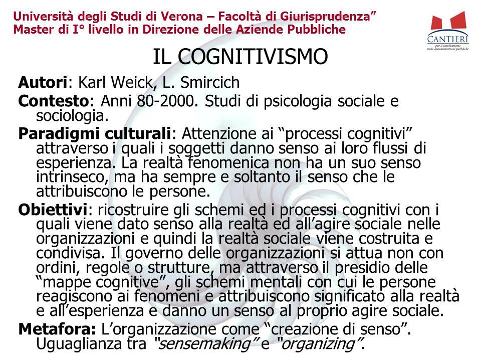 Università degli Studi di Verona – Facoltà di Giurisprudenza Master di I° livello in Direzione delle Aziende Pubbliche IL COGNITIVISMO Autori: Karl We