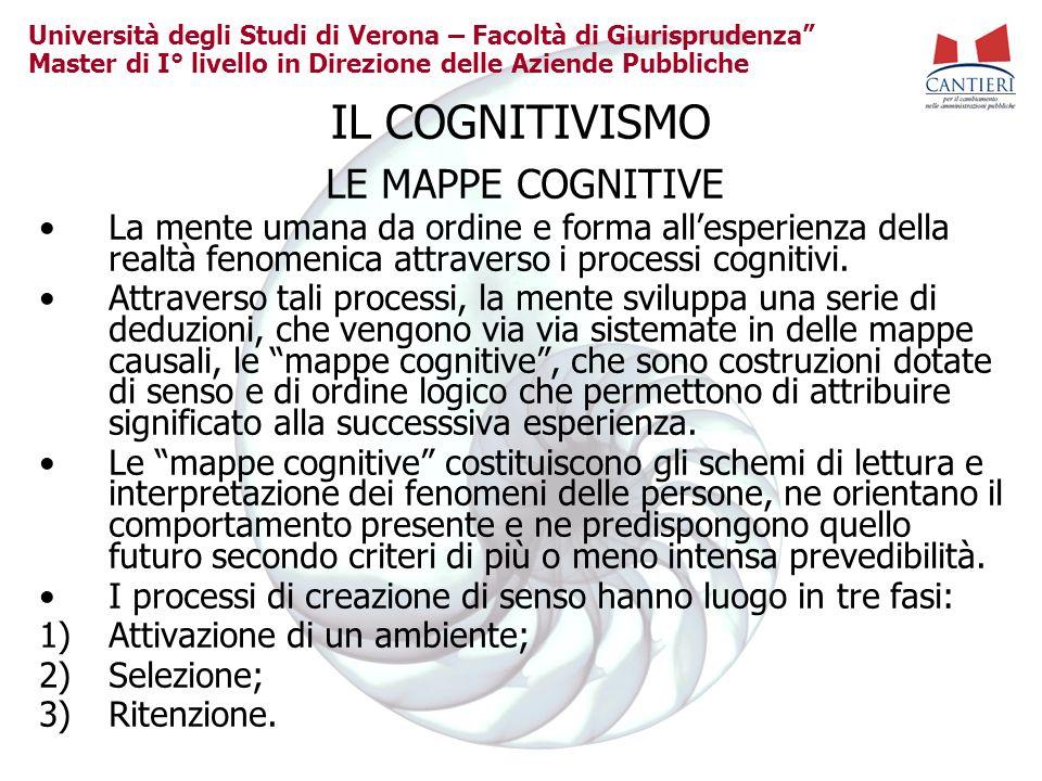 Università degli Studi di Verona – Facoltà di Giurisprudenza Master di I° livello in Direzione delle Aziende Pubbliche IL COGNITIVISMO LE MAPPE COGNIT