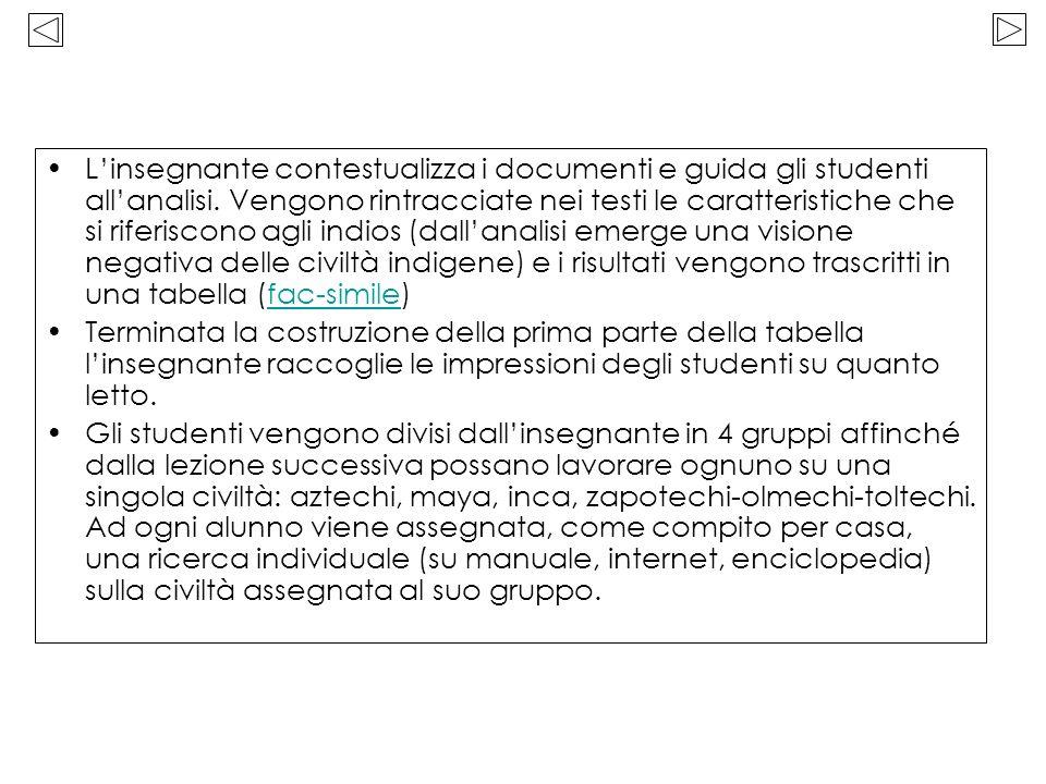 Linsegnante contestualizza i documenti e guida gli studenti allanalisi. Vengono rintracciate nei testi le caratteristiche che si riferiscono agli indi