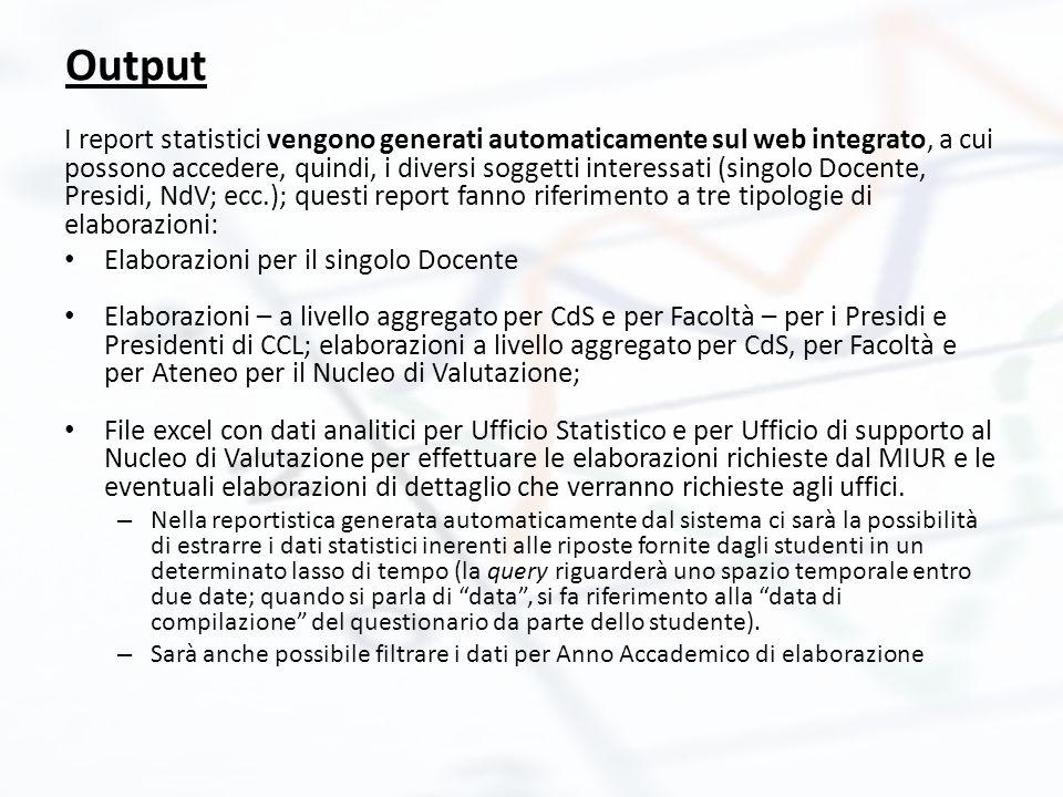 I report statistici vengono generati automaticamente sul web integrato, a cui possono accedere, quindi, i diversi soggetti interessati (singolo Docent