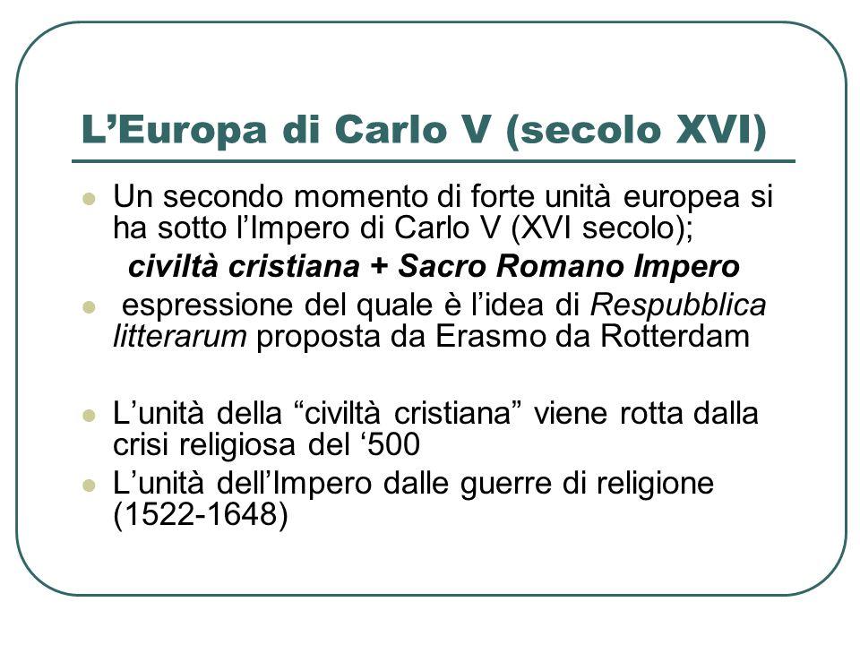 LEuropa di Carlo V (secolo XVI) Un secondo momento di forte unità europea si ha sotto lImpero di Carlo V (XVI secolo); civiltà cristiana + Sacro Roman