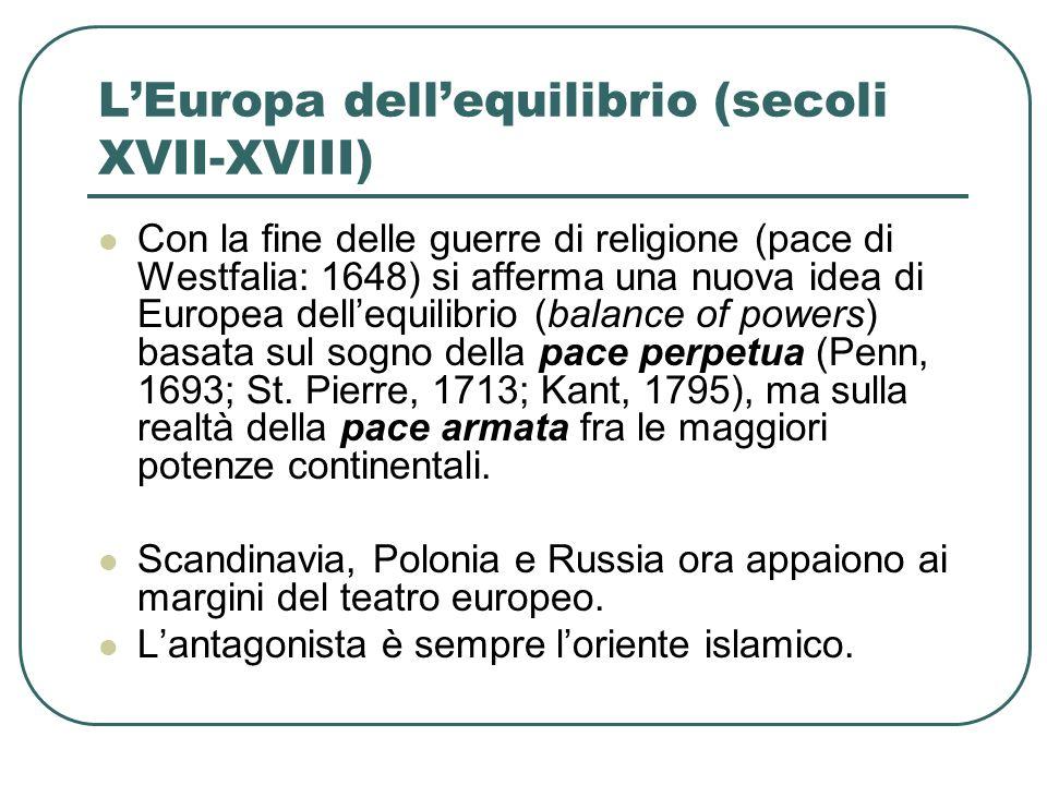 LEuropa dellequilibrio (secoli XVII-XVIII) Con la fine delle guerre di religione (pace di Westfalia: 1648) si afferma una nuova idea di Europea delleq