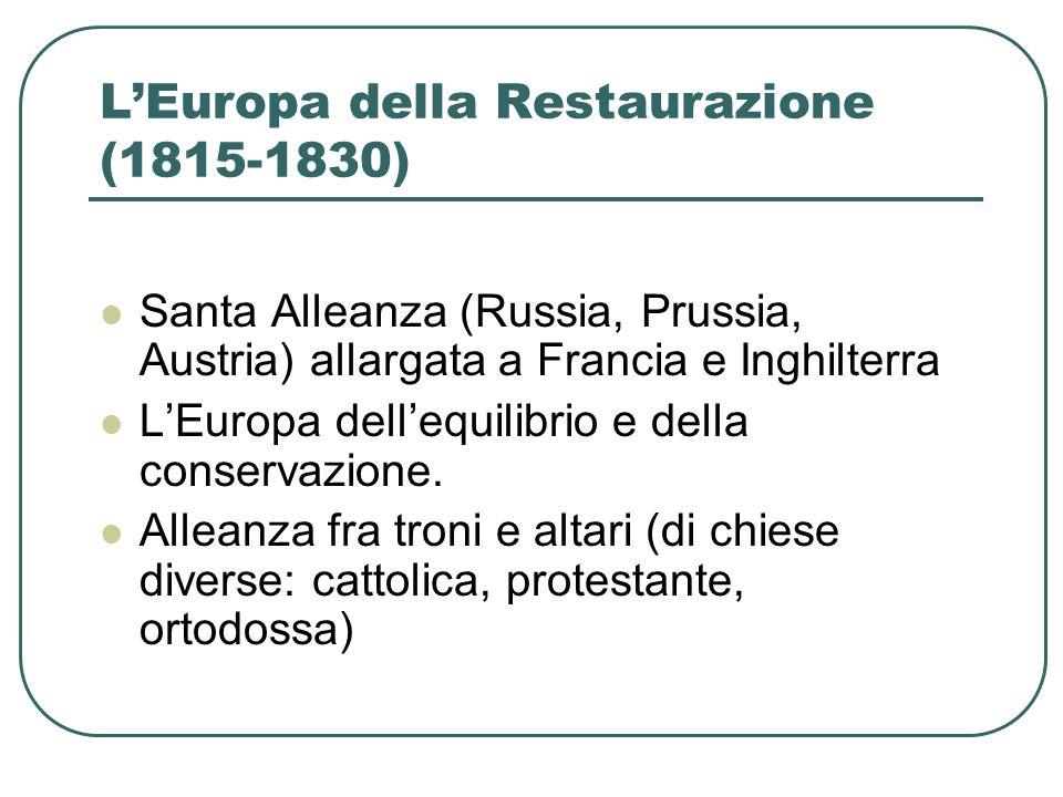 LEuropa della Restaurazione (1815-1830) Santa Alleanza (Russia, Prussia, Austria) allargata a Francia e Inghilterra LEuropa dellequilibrio e della con