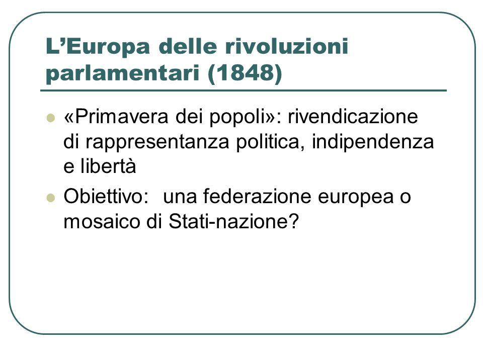 LEuropa delle rivoluzioni parlamentari (1848) «Primavera dei popoli»: rivendicazione di rappresentanza politica, indipendenza e libertà Obiettivo: una