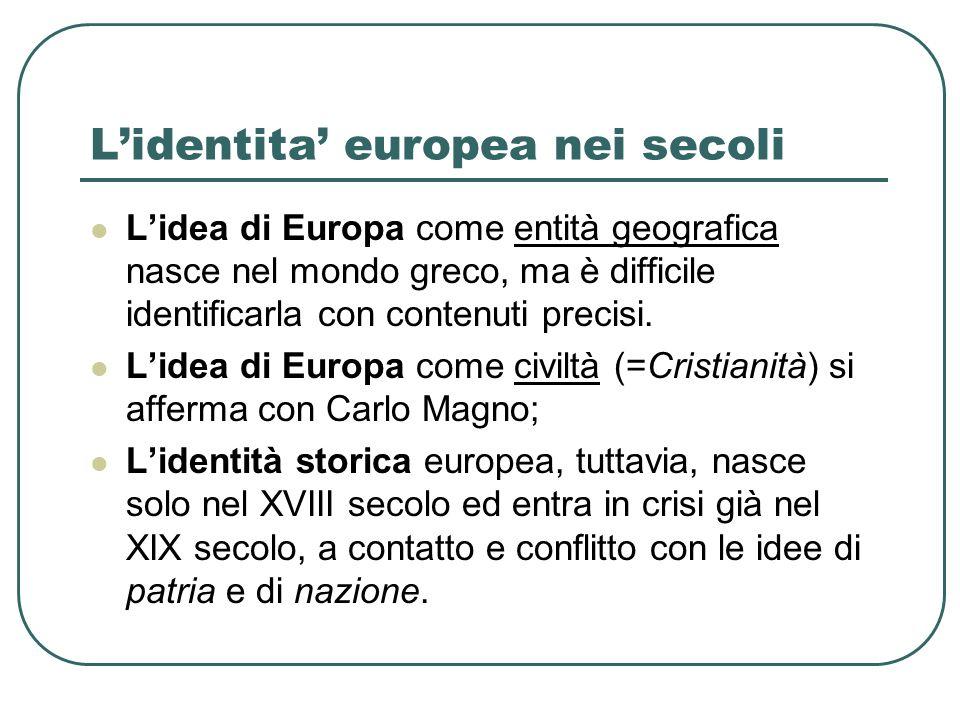 Lidentita europea nei secoli Lidea di Europa come entità geografica nasce nel mondo greco, ma è difficile identificarla con contenuti precisi. Lidea d