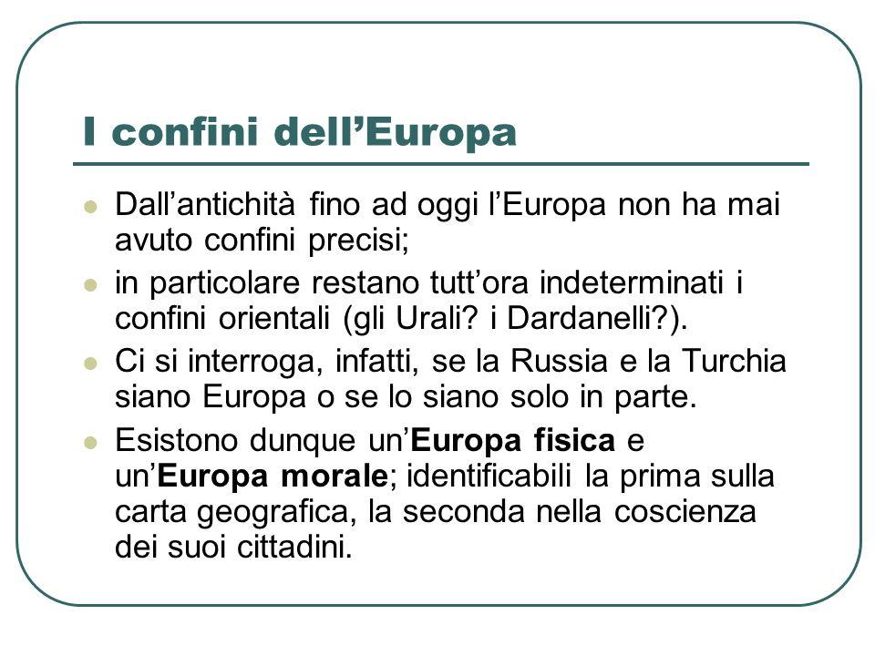 Quattro diverse Europe Nel corso della storia abbiamo avuto diverse Europe, almeno quattro di queste dotate di autocoscienza forte: 1.