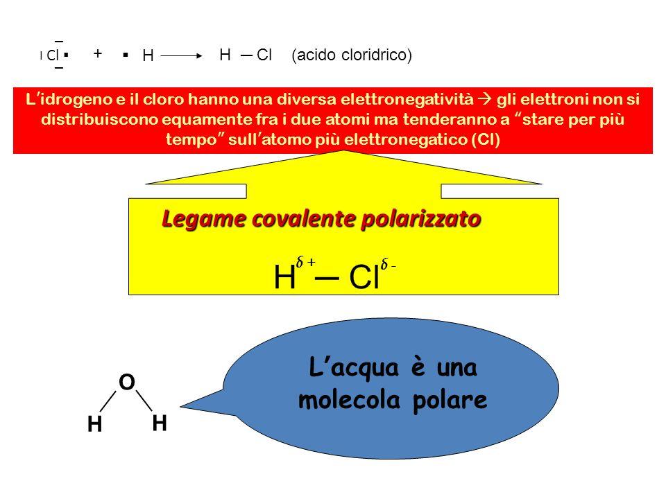Cl + H H Cl (acido cloridrico) L idrogeno e il cloro hanno una diversa elettronegatività gli elettroni non si distribuiscono equamente fra i due atomi ma tenderanno a stare per più tempo sull atomo più elettronegatico (Cl) Legame covalente polarizzato H Cl δ + δ - O H H δ + L acqua è una molecola polare