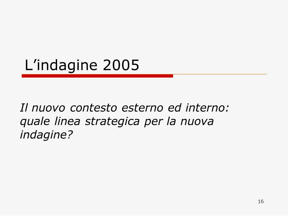 16 Lindagine 2005 Il nuovo contesto esterno ed interno: quale linea strategica per la nuova indagine